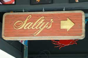 Salty's, Painted Leafed Sandblasted Wood
