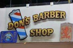 Don's Barber Shop Enamel and Leaf on Glass